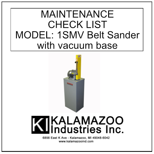 1SMV 1 x 42 Inch Belt Sander With Vacuum Base Maintenance Manual, industrial
