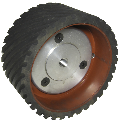 936-033 8 X 4 INCH 70 DURO SERRATED GRINDER CONTACT WHEEL