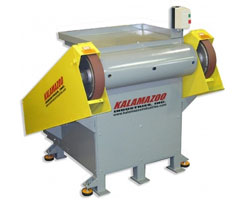 3 x 132 Inch Kalamazoo Industries Backstand Dual Head Grinder, backstand dual head grinder, dual head grinder, 3 x 132 inch, snag roughing grinding contouring angles, , Kalamazoo Industries BG214 3 x 132 inch double headed grinder, BG214 3 x 132 inch double headed grinder, 3 x 132 inch double headed grinder, 132 inch double headed grinder, double headed grinder