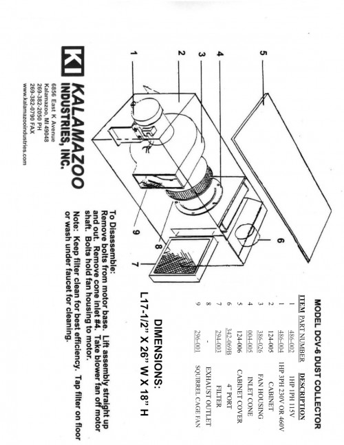 DCV-6 dust collector replacement parts list, vacuum