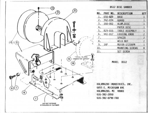 DS12 12 inch disc sander parts list, Kalamazoo Industries
