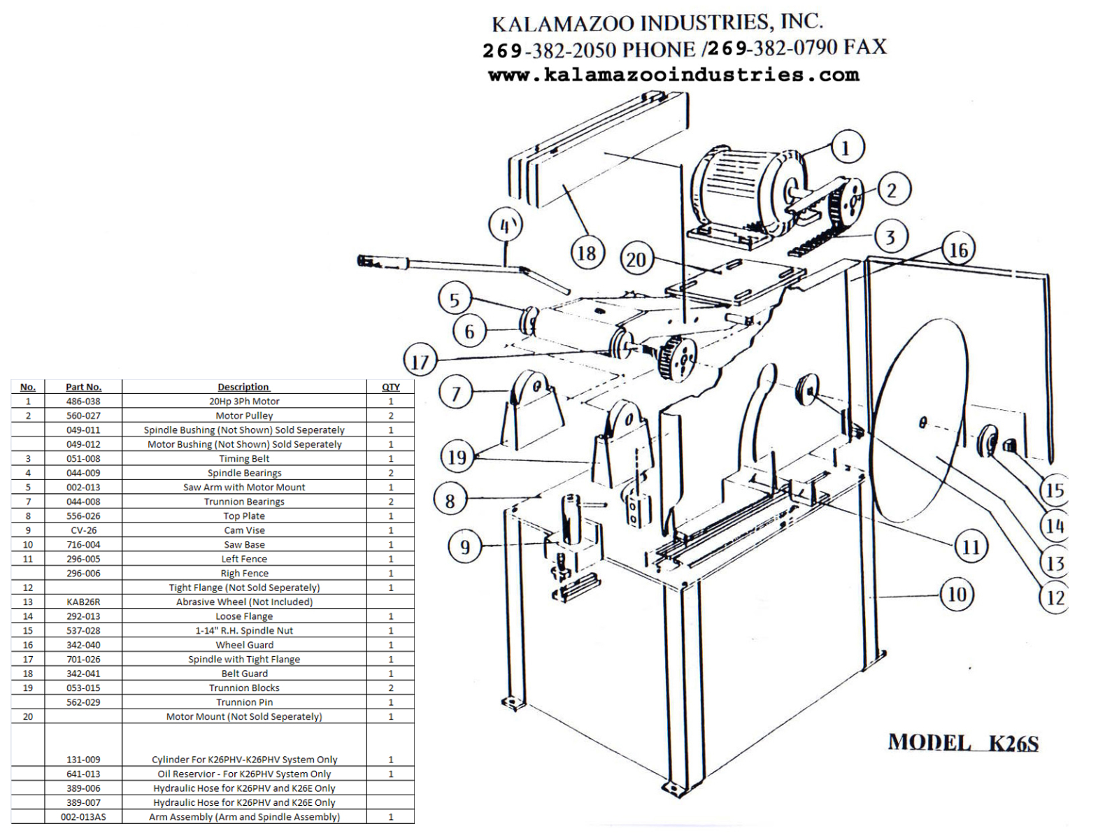 K26S 26 inch industrial abrasive chop saw parts list, industrial, abrasive, abrasive, chop saw, saw