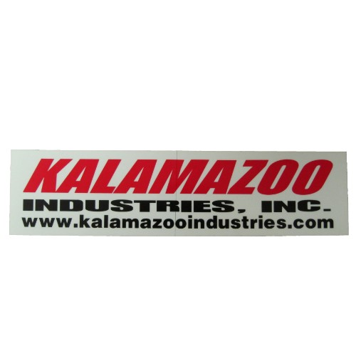 Large KI logo, 00127086 abrasive chop saw sticker kit, 00127087 Kalamazoo Industries logo stick kit