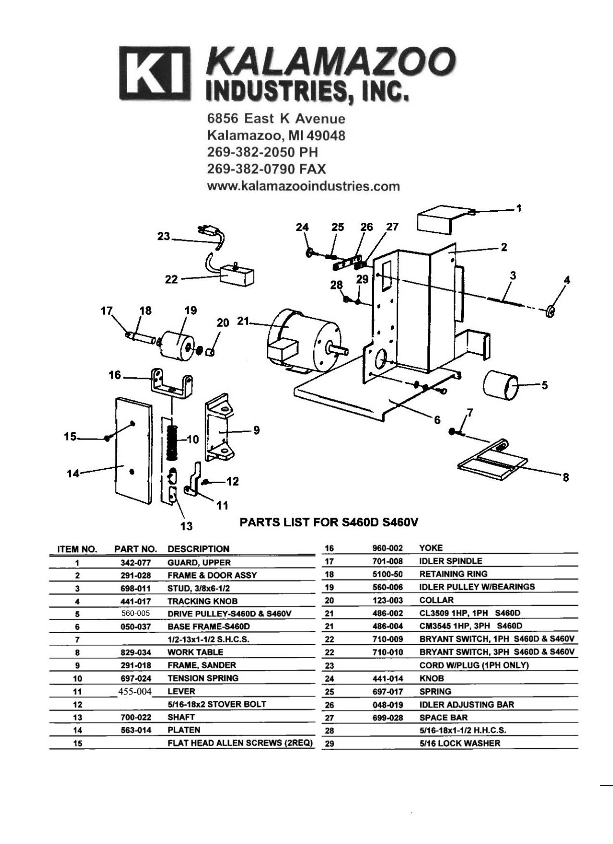 Replacement S460 4 x 60 inch belt sander replacement parts list, 4 x 60 inch, belt sanders, belt sanders, replacement parts, S460V 4 x 60 inch Dry Industrial Belt Sander With Vacuum Base, Belt Sander , collector, industrial, vacuum