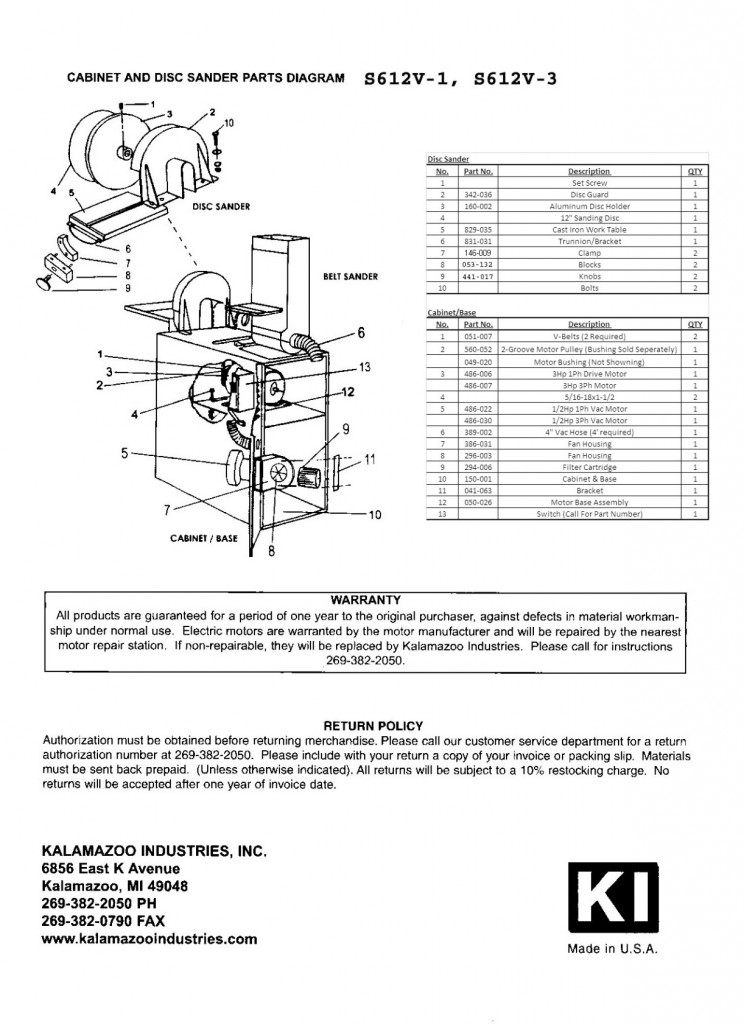 S612 and S612V 6 x 48 inch combination sander parts list page 2, 6 x 48 inch combination sander, combination sander, sander parts, 6 x 48 inch